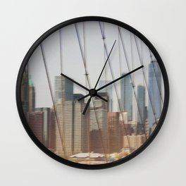 New York from Brooklyn Bridge Wall Clock
