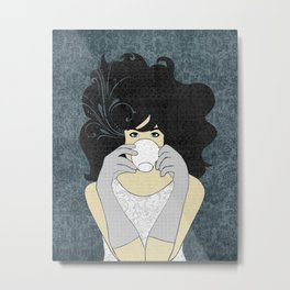 High Tea Black Hair Metal Print