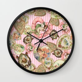 Victorian Romantic  Heart Frames Toss in Vintage Pink + White Striped Paper Wall Clock