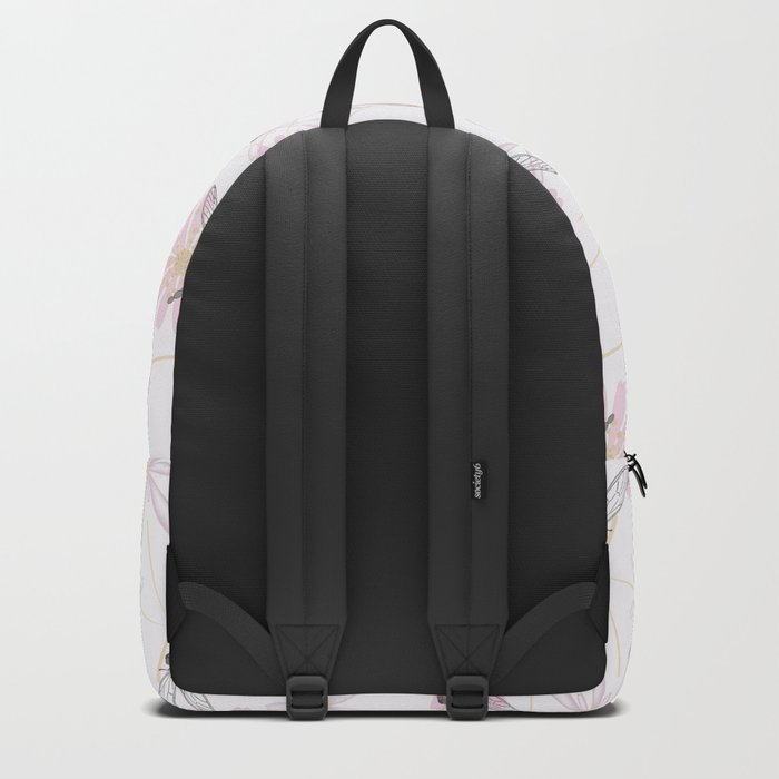 Floral pattern with dragonflies on a white background. Backpack