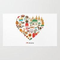 ukraine Area & Throw Rugs featuring I Love Ukraine by Marina Zlochin