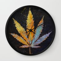 cannabis Wall Clocks featuring Cannabis by Michael Creese