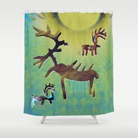 reindeer Shower Curtains featuring reindeer by donphil