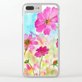 Symphony In Pink, Watercolor Wildflowers Clear iPhone Case