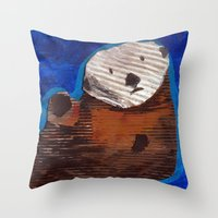otter Throw Pillows featuring Otter by Cre8tive Papier