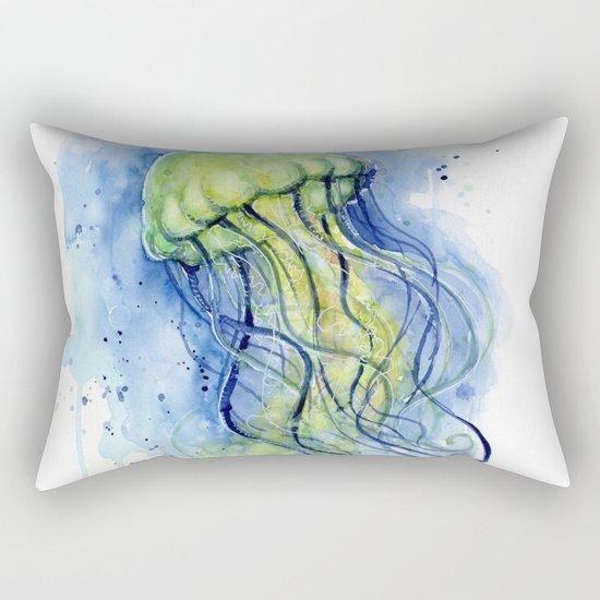 Jellyfish Watercolor Beautiful Sea Creatures Rectangular Pillow