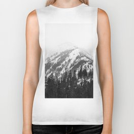 Fading Mountain Winter - Snow Capped Nature Photography Biker Tank