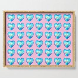 Crystal Heart Pattern Version - Pink BG Serving Tray