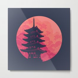 Pagoda Sunset 2 Metal Print