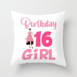 Celebration Candle Birthday Cake Collection T-shirt Birthday 16 Girl Party Celebrate Teen 16th Throw Pillow