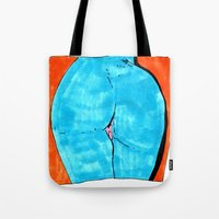 butt Tote Bags featuring blue butt by withapencilinhand