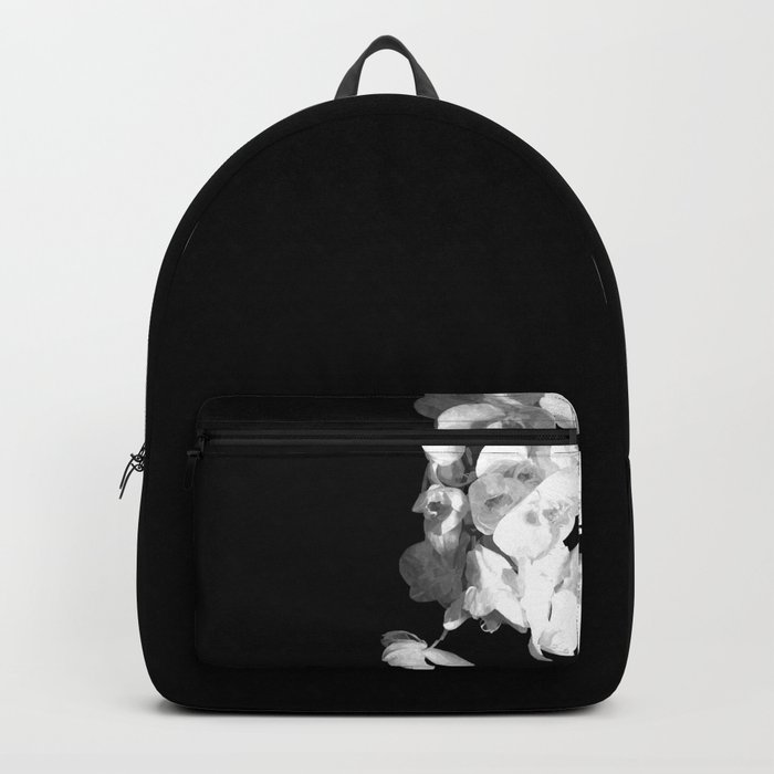 White Orchids Black Background Rucksack