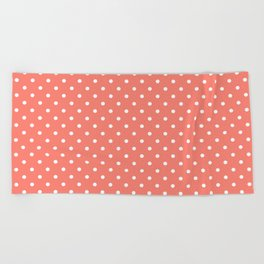 Dots (White/Salmon) Beach Towel