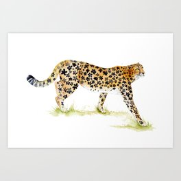 Flower Pattern Cheetah Art Print