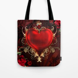 Gothic Red Rose Heart Tote Bag