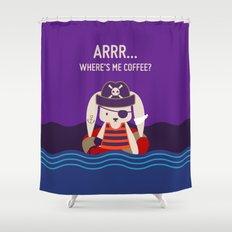 Pirate Bunny Needs Coffee Shower Curtain