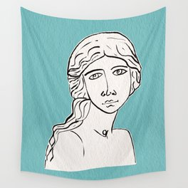 The little mermaid statue Wall Tapestry