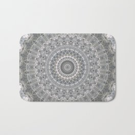 Mandala in white, grey and silver tones Bath Mat