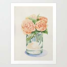 Old roses in glass Art Print