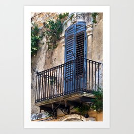 Blue Sicilian Door on the Balcony Art Print