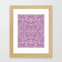 Purple Vines Folk Art Flower Pattern Framed Art Print