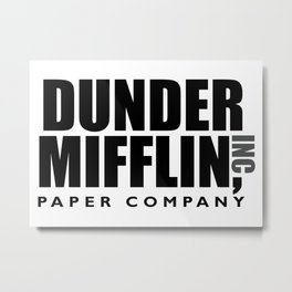 The Dunder Office Mifflin Inc. Design, T-Shirt, tshirt, tee, jersey, poster, Original Funny Gift Metal Print