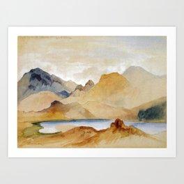 Cinnabar Mountain Yellowstone River Watercolour 1871 By Thomas Moran | Watercolor Reproduction Art Print