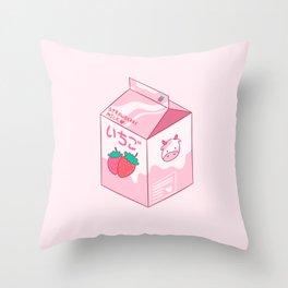 Kawaii Strawberry Milk Shake Throw Pillow