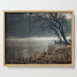 Morning fog, river and sunrise Serving Tray