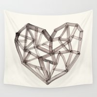 wooden Wall Tapestries featuring Wooden Heart by Picomodi