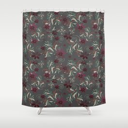 Burgundy Flowers On Gray Shower Curtain