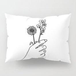 Daisy & Sweet Pea Line Drawing (Birth Flower Series - April) Pillow Sham