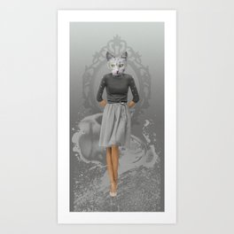 Cat Girl Pepe Psyche Art Print