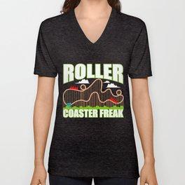 Roller Coaster Freak Gift Park Kirmes Unisex V-Neck