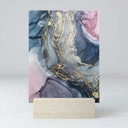 Blush, Payne's Gray and Gold Metallic Abstract Mini Art Print