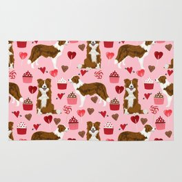 Border Collie red coat cupcakes valentines hearts dog breed pet friendly gifts for collie lovers Rug
