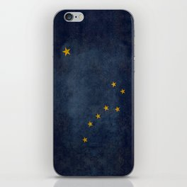 Alaskan State Flag, Distressed worn style iPhone Skin
