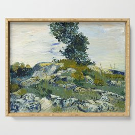 The Rocks by Vincent van Gogh Serving Tray