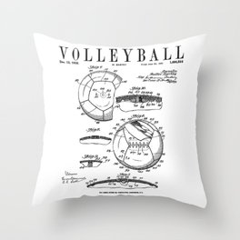 Volleyball Old Vintage Patent Drawing Print Throw Pillow