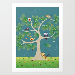 tree of birds Art Print
