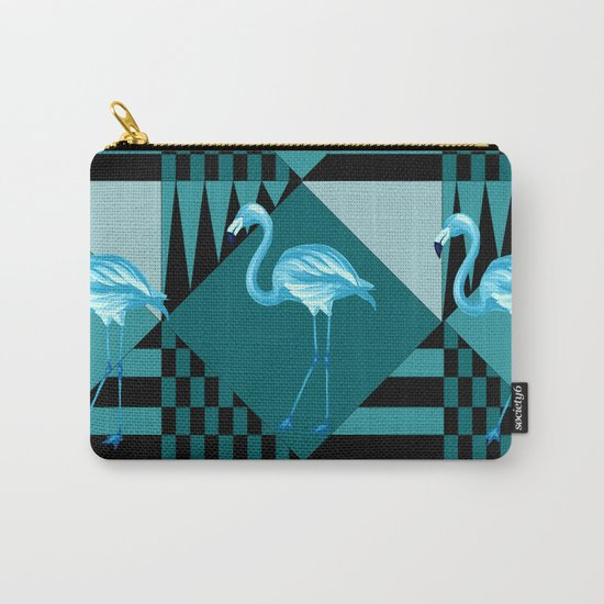 flamingo in blue Carry-All Pouch