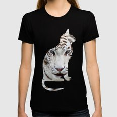 BIG AND SMALL CAT Black Womens Fitted Tee SMALL