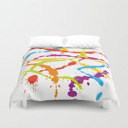 Splattered Rainbow [WHITE] Duvet Cover