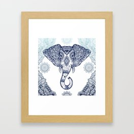 Bohemian Elephant Tribal Boho Gradient Blue Framed Art Print