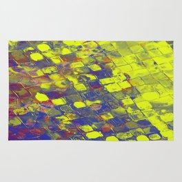 Take The First Step - Abstract, blue and yellow pattern Rug