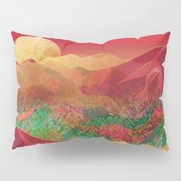 """Tropical golden sunset over fantasy pink forest"" Pillow Sham"