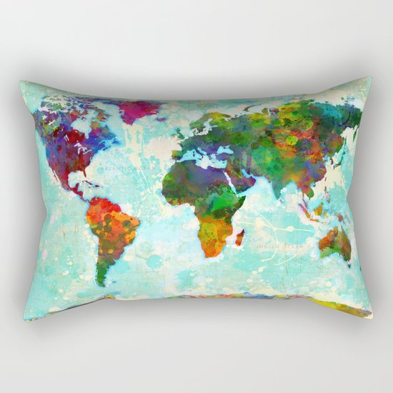 World Map - 1 Rectangular Pillow