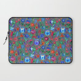 Little Owls and Flowers on Grey Laptop Sleeve