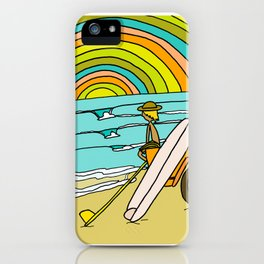 Retro Surf Days Single Fin Pick Up Truck iPhone Case