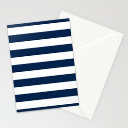 Slate Blue and White Stripes  - Navy Nautical Pattern Stationery Cards